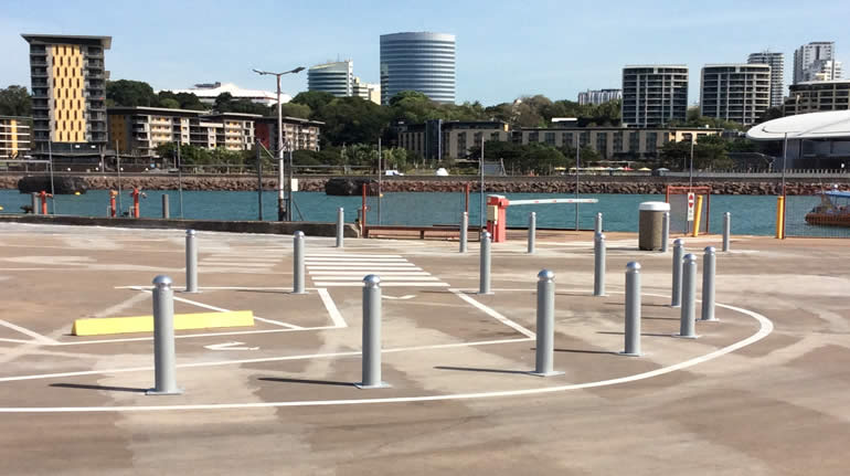Fixed Bollards controlling traffic for pedestrian safety at Darwin waterfront