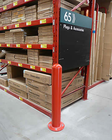 Bunnings bollard protecting racking